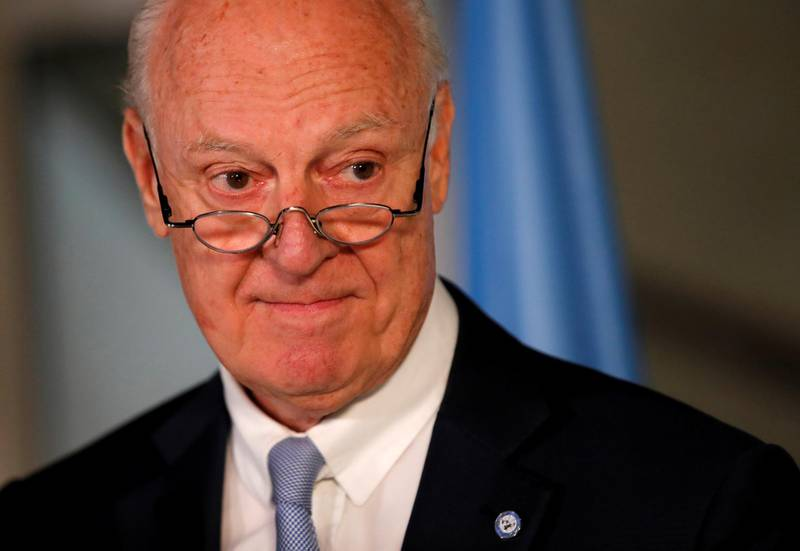 U.N. Syria envoy Staffan de Mistura attends a news conference at the United Nations in Geneva, Switzerland June 14, 2018. REUTERS/Denis Balibouse