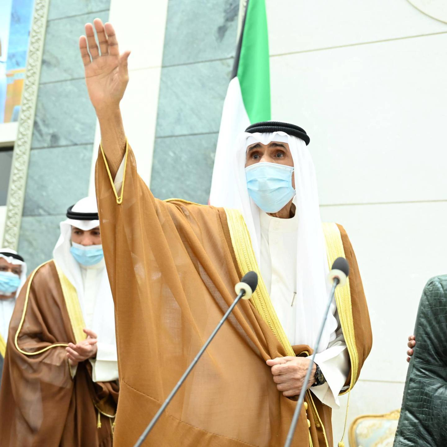 Kuwait's new Emir Nawaf al-Ahmad al-Sabah gestures as he arrives to take the oath of office at the parliament, in Kuwait City, Kuwait September 30, 2020. Kuwait News Agency/Handout via REUTERS ATTENTION EDITORS - THIS IMAGE WAS PROVIDED BY A THIRD PARTY. NO RESALES. NO ARCHIVES.