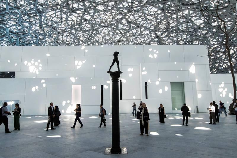 Abu Dhabi, United Arab Emirates, November 6, 2017:    Walking Man, On a Column by artist Augusta Rodin pictured during the Louvre Abu Dhabi during the media tour ahead of opening day on Saadiyat Island in Abu Dhabi on November 6, 2017. The Louvre Abu Dhabi will open November 11th. Christopher Pike / The National  Reporter: Mina Aldroubi Section: News