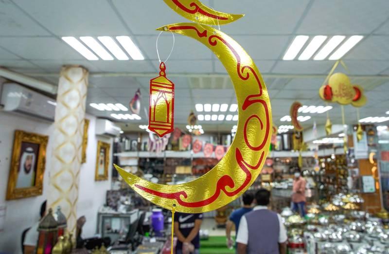 Abu Dhabi, United Arab Emirates, April 22, 2020.    Ramadan decor inside the Al Fateh Plaza shop at the Dhow Harbor and Al Mina Souk.Victor Besa / The NationalSection:  NAFor:  Stock images
