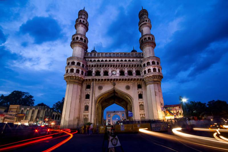 The Charminar, Hyderabad, India during twilight