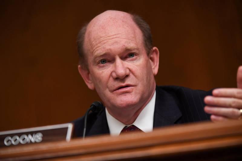 FILE PHOTO: U.S. Democratic Senator Chris Coons at a hearing  on Capitol Hill in Washington, D.C., U.S., June 16, 2020. Toni Sandys/Pool via REUTERS/File Photo