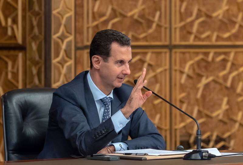 epa07134054 A handout photo made available by Syria's Arab News Agency (SANA) shows Syrian President Bashar al-Assad speaking during a meeting with delegations of the Executive Committee of the World Peace Council and the International Young Democrat Union (IYDU) in Damascus, Syria, 31 October 2018. According to SANA, Assad said that his country has paid a 'dear price' to preserve its independence. He also said that some western countries have 'narrow interests' adding that those countries do not feel hesitant to ignite wars to achieve their interests by using extremist thoughts which were promoted by the US administration in the 1980s.  EPA/SANA HANDOUT  HANDOUT EDITORIAL USE ONLY/NO SALES