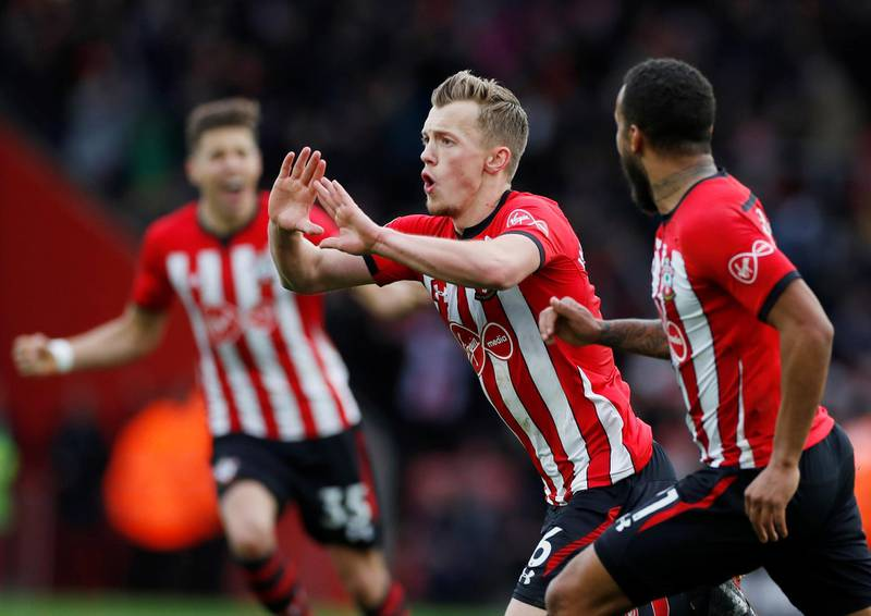 """Soccer Football - Premier League - Southampton v Tottenham Hotspur - St Mary's Stadium, Southampton, Britain - March 9, 2019  Southampton's James Ward-Prowse celebrates scoring their second goal with Ryan Bertrand           Action Images via Reuters/Paul Childs  EDITORIAL USE ONLY. No use with unauthorized audio, video, data, fixture lists, club/league logos or """"live"""" services. Online in-match use limited to 75 images, no video emulation. No use in betting, games or single club/league/player publications.  Please contact your account representative for further details."""