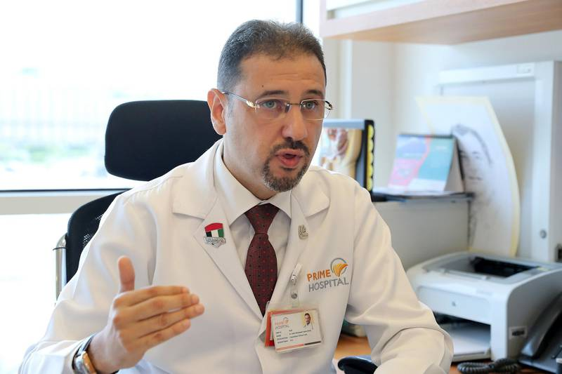 DUBAI, UNITED ARAB EMIRATES , September 16 – 2020 :- Dr. Adel Mohamed Yasin Alsisi, Consultant Critical Care speaking about the Flu vaccine at the Prime Hospital in Dubai.  (Pawan Singh / The National) For News/Online. Story by Nick Webster