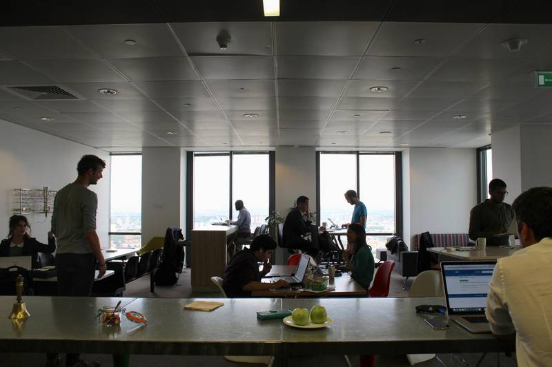 FILE PHOTO: People are seen in the Level39 FinTech hub based in the One Canada Square tower of the Canary Wharf district of London, Britain, August 5, 2016. REUTERS/Jemima Kelly/File Photo