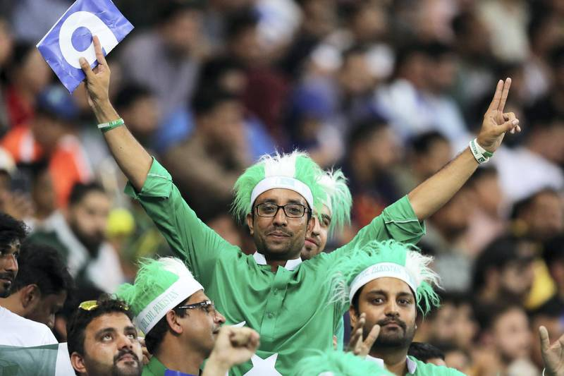DUBAI , UNITED ARAB EMIRATES, September 19 , 2018 :- Supporters of Pakistan during the  Asia Cup UAE 2018 cricket match between Pakistan vs India held at Dubai International Cricket Stadium in Dubai. ( Pawan Singh / The National )  For Sports. Story by Paul