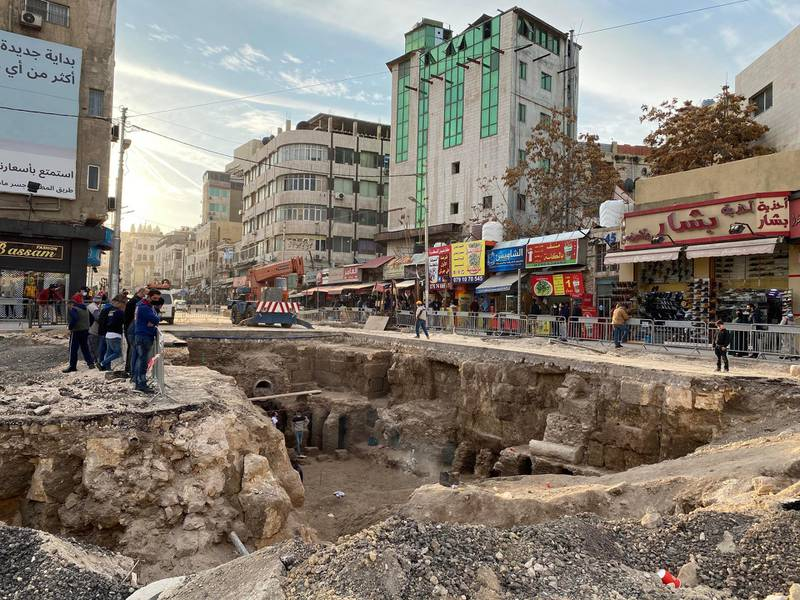 The site of 2,300 year old Roman baths, uncovered during sewage works in Amman, Jordan. Amy McConaghy / The National