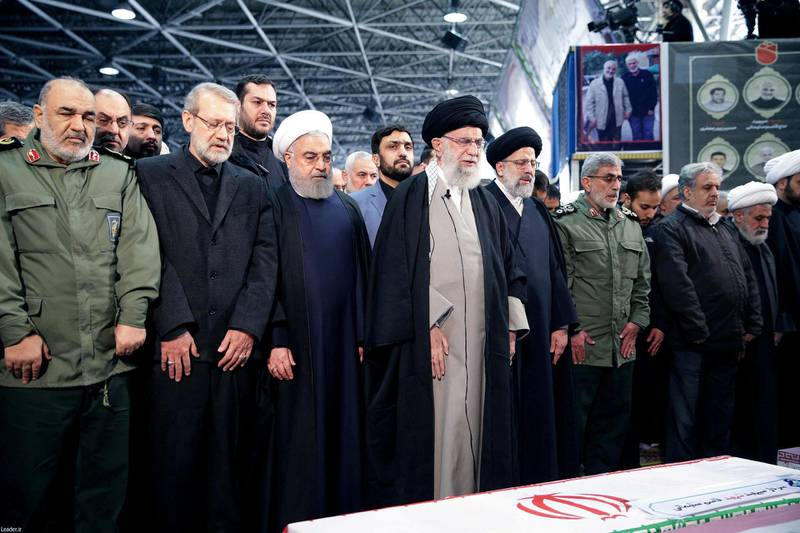 FILE PHOTO: Iran's Supreme Leader Ayatollah Ali Khamenei and Iranian President Hassan Rouhani pray near the coffin of Iranian Major-General Qassem Soleimani, head of the elite Quds Force, who was killed in an air strike at Baghdad airport, in Tehran, Iran, January 6, 2020. Official President's website/Handout via REUTERS ATTENTION EDITORS - THIS IMAGE WAS PROVIDED BY A THIRD PARTY. NO RESALES. NO ARCHIVES/File Photo