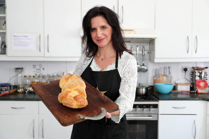 DUBAI, UNITED ARAB EMIRATES , June 10 – 2020 :- Elli Kriel preparing bread in the kitchen of her villa in the Umm Suqeim area in Dubai. She has started a kosher kitchen for business travellers and for the local community. (Pawan Singh / The National) For News/Online. Story by Anna