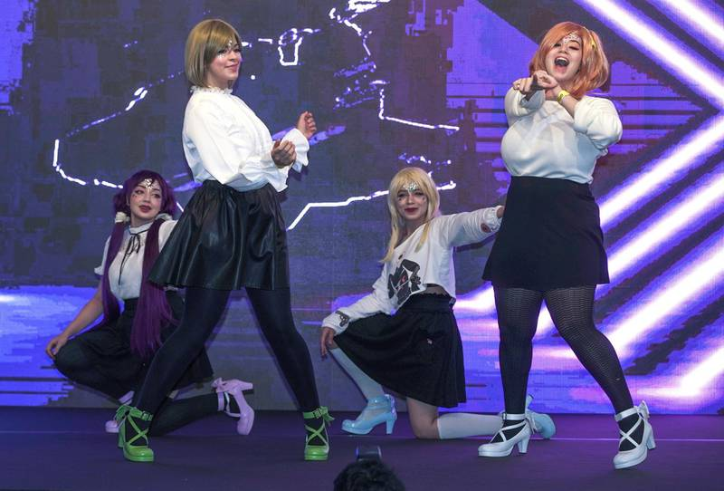 Dubai, United Arab Emirates, February 21, 2020.  Cosplay at Esports Festival World Finals at Meydan Grandstand, Dubai.  The Lunar Idols rock the house.Victor Besa / The NationalSection:  WKReporter:  None