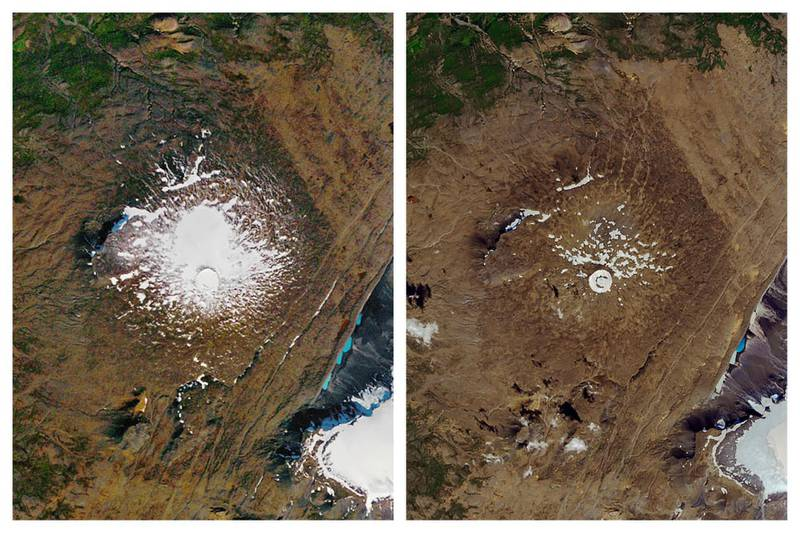 This combination of Sept. 14, 1986, left, and Aug. 1, 2019 photos provided by NASA shows the shrinking of the Okjokull glacier on the Ok volcano in west-central Iceland. A geological map from 1901 estimated Okjökull spanned an area of about 38 square kilometers (15 square miles). In 1978, aerial photography showed the glacier was 3 square kilometers. in 2019, less than 1 square kilometer remains. (NASA via AP)