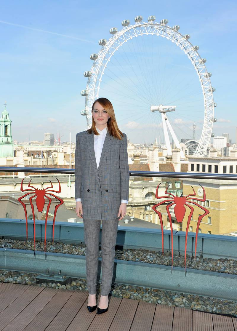 LONDON, ENGLAND - APRIL 09:  Actress Emma Stone attends the Amazing Spider-Man 2 Cast and Filmmaker photocall at the Park Plaza Hotel on April 9, 2014 in London, England.  (Photo by Gareth Cattermole/Getty Images for Sony)