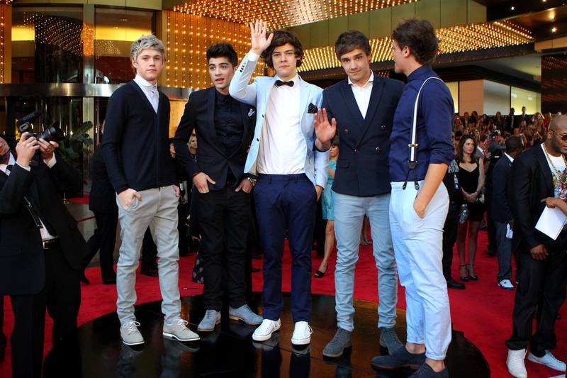 MELBOURNE, AUSTRALIA - APRIL 15:  Niall Horan, Liam Payne, Harry Styles, Zayn Malik and Louis Tomlinson of One Direction arrive at the 2012 Logie Awards at the Crown Palladium on April 15, 2012 in Melbourne, Australia.  (Photo by Scott Barbour/Getty Images)