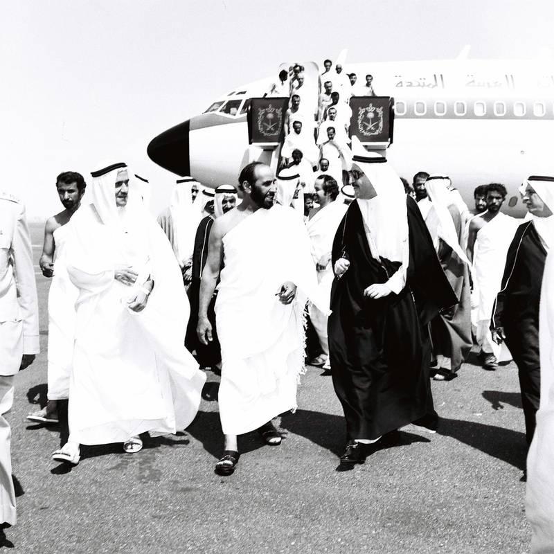 Sheikh Zayed leads to Saudi Arabia for Hajj Pilgrimage. October 27, 1979. Courtesy to Ittihad. History Project 2011