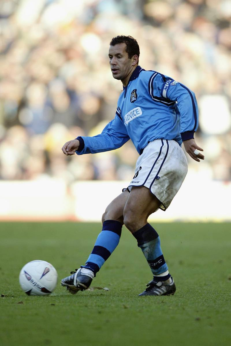 MANCHESTER - JANUARY 5:  Ali Benarbia of Manchester City lays the ball off during the FA Cup third round match between Manchester City and Liverpool held on January 5, 2003 at Maine Road, in Manchester, England. Liverpool won the match 1-0. (Photo by Alex Livesey/Getty Images)