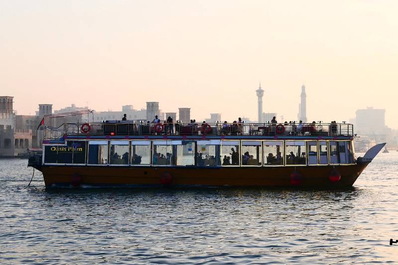 Tourists at the Dhow cruise at the creek in Deira Dubai during the evening on April 21, 2021. Pawan Singh / The National. Story by Sarwat Nasir