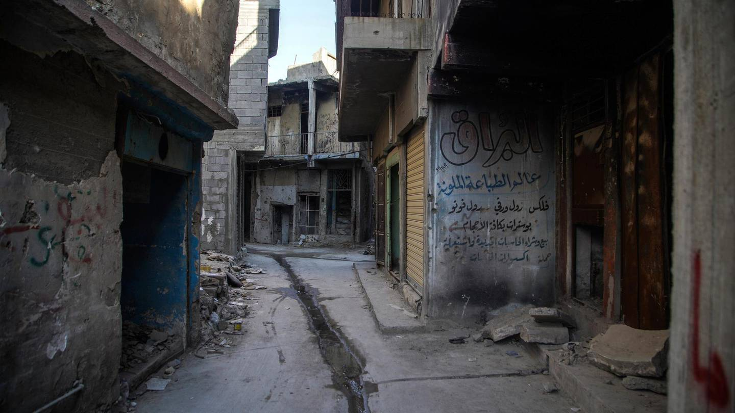An alley way in the destroyed old city of Mosul. Haider Husseini/ The National