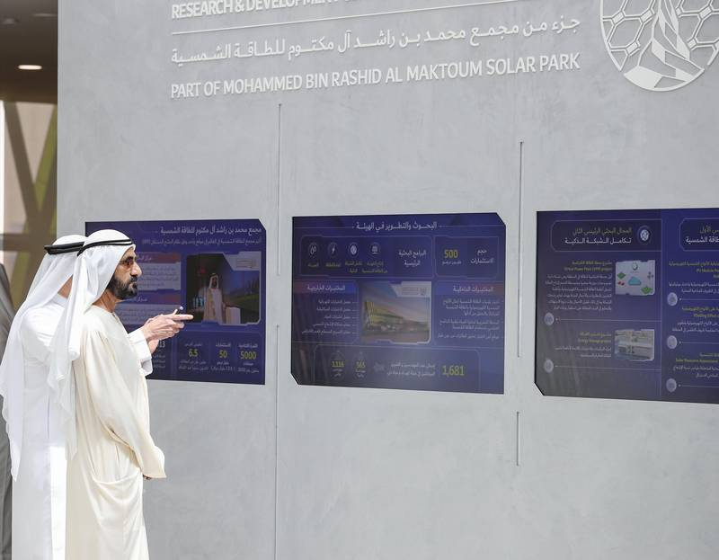 Sheikh Mohammed bin Rashid Al Maktoum, Vice President and Prime Minister of the UAE and Ruler of Dubai, has inaugurated Dubai Electricity and Water Authority's (DEWA's) Research and Development (R&D) Centre at the Mohammed bin Rashid Al Maktoum Solar Park. Wam