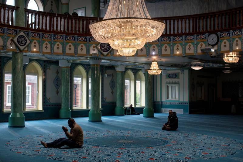 LONDON, ENGLAND - MARCH 01: Men pray at the Suleymaniye Mosque in East London on March 1, 2019 in London, England. This weekend is Visit My Mosque 2019 where the general public are invited by the Muslim Council Of Great Britain into participating mosques across the UK.  People of all faiths and no faith are welcome with the idea to build bridges in communities and foster good relations. (Photo by Dan Kitwood/Getty Images)