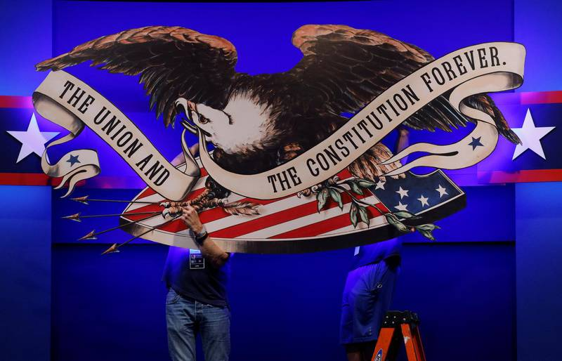 Crews prepare the hall for the first presidential debate between U.S. President Donald Trump and Democratic presidential nominee and former Vice President Joe Biden in Cleveland, Ohio, U.S., September 28, 2020.   REUTERS/Brian Snyder