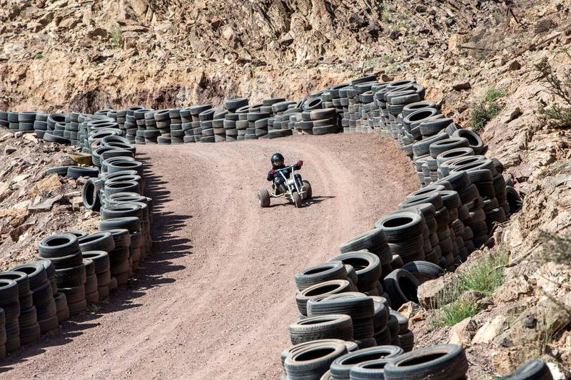 Hatta, United Arab Emirates -Mountain carting one of the attraction  at Hatta Wadi Hub where the newly opened dropin slide is also the latest attraction.  Leslie Pableo for The National