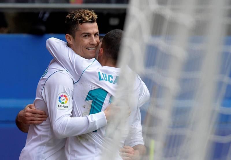 Soccer Football - La Liga Santander - Eibar vs Real Madrid - Ipurua, Eibar, Spain - March 10, 2018   Real Madrid's Cristiano Ronaldo celebrates scoring their second goal with team mates              REUTERS/Vincent West