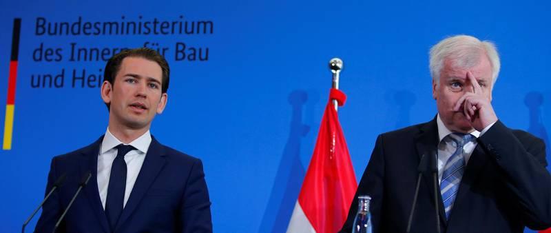 German Interior Minister Horst Seehofer and Austria's chancellor Sebastian Kurz attend a news conference in Berlin, Germany, June 13, 2018. REUTERS/Joachim Herrmann