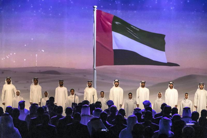 ABU DHABI, UNITED ARAB EMIRATES. 13 JANUARY 2020. The Zayed Sustainability Awards held at ADNEC as part of Abu Dhabi Sustainability Week. Colour option of the opening of the ceremony where the UAE National Anthem was sung. (Photo: Antonie Robertson/The National) Journalist: Kelly Clarker. Section: National.