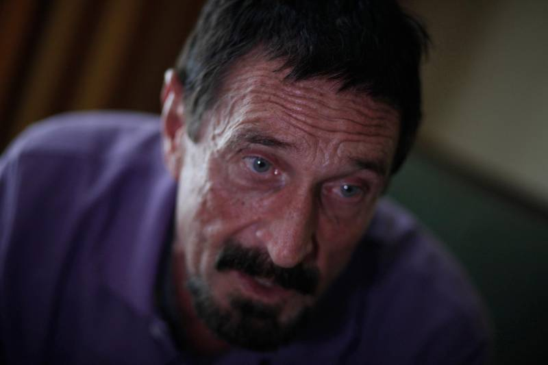 John McAfee, anti-virus software guru, speaks during an interview with Reuters in Guatemala City, December 5, 2012. REUTERS/Jorge Dan Lopez (GUATEMALA - Tags: CRIME LAW POLITICS SCIENCE TECHNOLOGY BUSINESS)