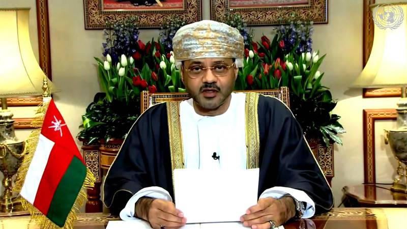 In this image made from UNTV video, Badr bin Hamad bin Hamood AlBusaidi, foreign minister of Oman, speaks in a pre-recorded message which was played during the 75th session of the United Nations General Assembly, Tuesday, Sept. 29, 2020, at U.N. headquarters. (UNTV via AP)