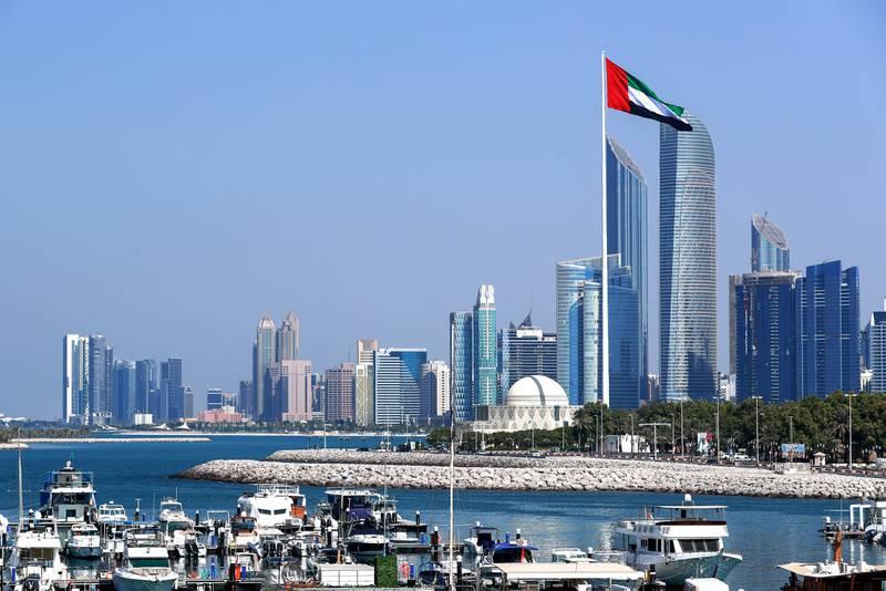 Abu Dhabi, United Arab Emirates, November 3, 2020.   The UAE flag, Corniche.Victor Besa/The NationalSection:  NAFOR: Stock Images