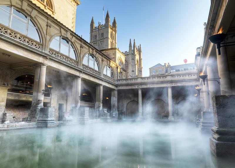 A handout photo of Roman baths in Bath, England, UK (Colin Hawkins / Bath Tourism Plus) *** Local Caption ***  WK30AU-TR-BATH-ENGLAND04.jpg