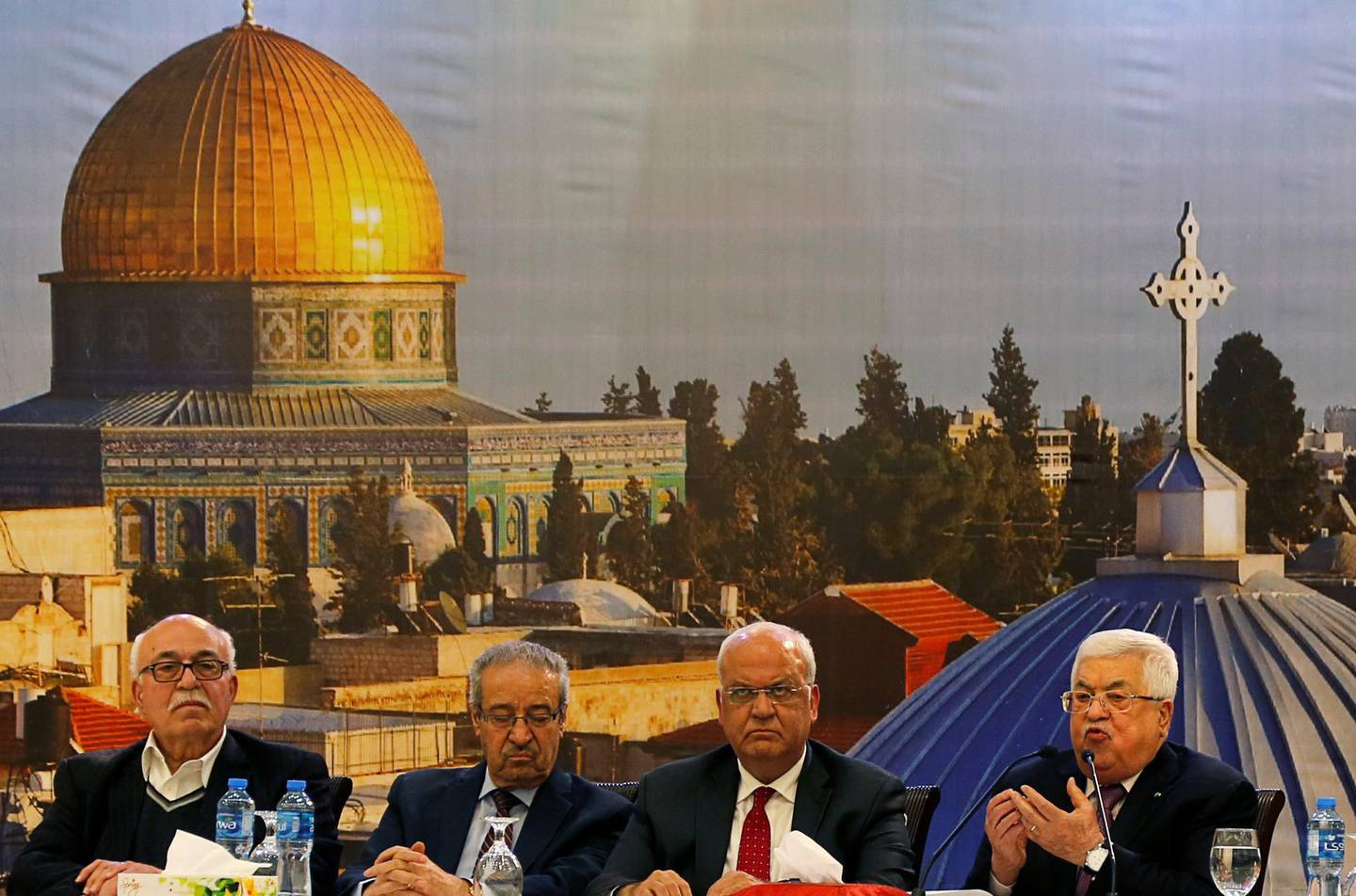 Palestinian President Mahmoud Abbas gestures as he delivers a speech following the announcement by the U.S. President Donald Trump of the Mideast peace plan, in Ramallah in the Israeli-occupied West Bank January 28, 2020. REUTERS/Raneen Sawafta