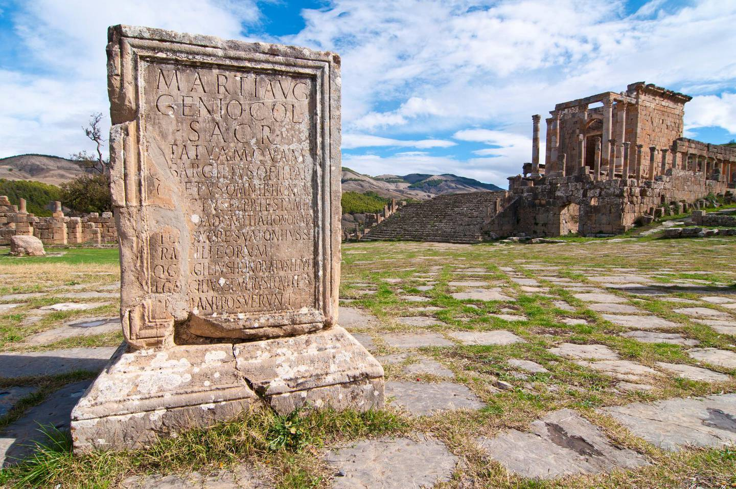 Basilica and Temple des Septimes at the Roman ruins of Djemila, UNESCO World Heritage Site, Algeria, North Africa, Africa