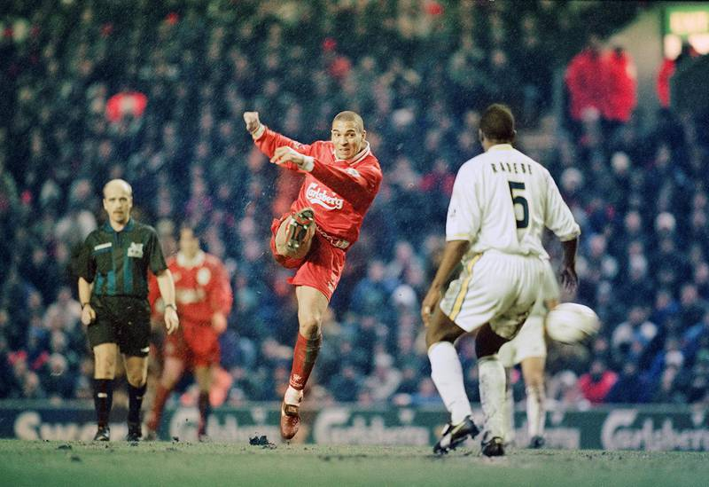 Stan Collymore playing for Liverpoolduring their 4-0 Premier League victory against Leeds at Anfield, 19th February 1997. (Photo by Clive Brunskill/Getty Images)