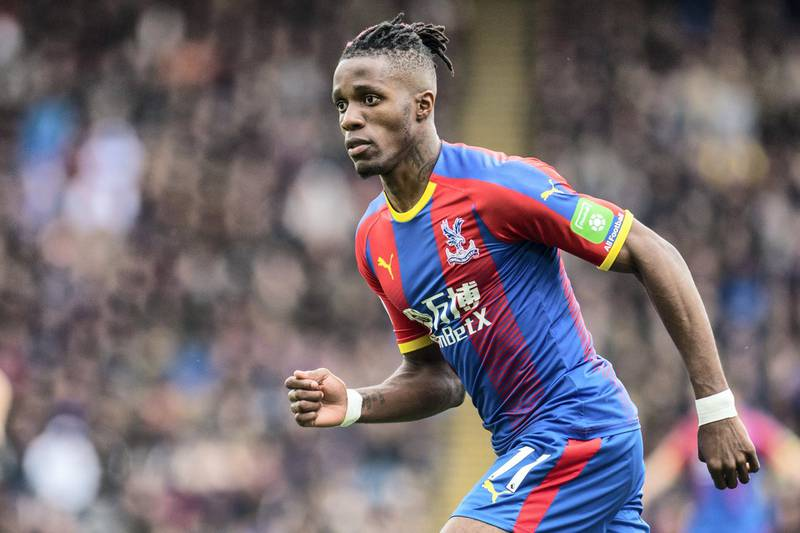 LONDON, ENGLAND - APRIL 27: Wilfried Zaha of Crystal Palace reaction during the Premier League match between Crystal Palace and Everton FC at Selhurst Park on April 27, 2019 in London, United Kingdom. (Photo by Sebastian Frej/MB Media/Getty Images)