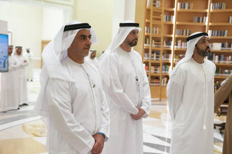 ABU DHABI, UNITED ARAB EMIRATES - February 03, 2020: (R-L) HE Mohamed Mubarak Al Mazrouei, Undersecretary of the Crown Prince Court of Abu Dhabi, Yasser Saeed Al Mazrouei, Executive Director, Upstream Directorate of ADNOC and HH Lt General Sheikh Saif bin Zayed Al Nahyan, UAE Deputy Prime Minister and Minister of Interior, view the Jebel Ali Project presentation by ADNOC and DUSUP, pertaining to the development of a natural gas reservoir between Abu Dhabi and Dubai, at Qasr Al Watan.  ( Hamad Al Kaabi / Ministry of Presidential Affairs ) ---
