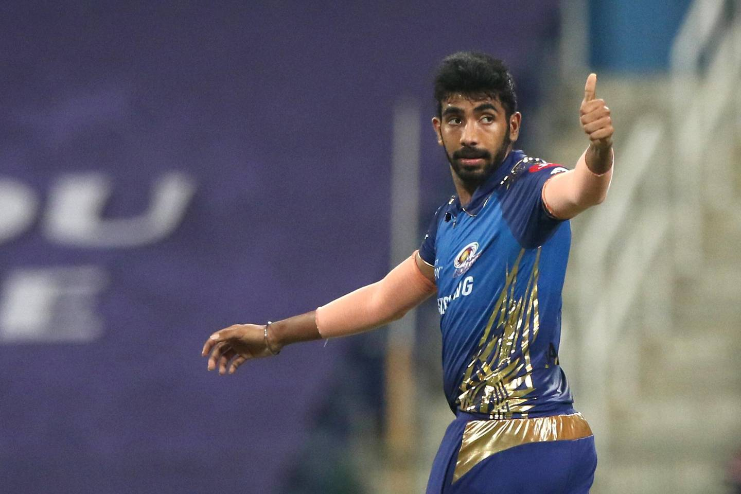 Jasprit Bumrah of Mumbai Indians  celebrates the wicket of Shreyas Gopal of Rajasthan Royals during match 20 of season 13 of the Dream 11 Indian Premier League (IPL) between the Mumbai Indians and the Rajasthan Royals at the Sheikh Zayed Stadium, Abu Dhabi  in the United Arab Emirates on the 6th October 2020.  Photo by: Pankaj Nangia  / Sportzpics for BCCI