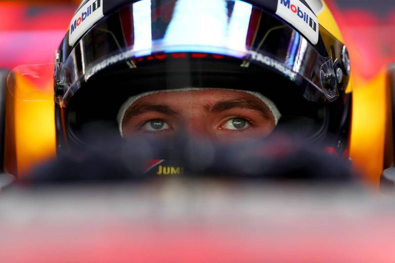 ABU DHABI, UNITED ARAB EMIRATES - NOVEMBER 24:  Max Verstappen of Netherlands and Red Bull Racing prepares to drive in the garage during practice for the Abu Dhabi Formula One Grand Prix at Yas Marina Circuit on November 24, 2017 in Abu Dhabi, United Arab Emirates.  (Photo by Dan Istitene/Getty Images)