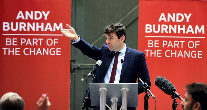 MANCHESTER, ENGLAND - AUGUST 17:  (EDITOR'S NOTE: This is an alternative crop of image #484320184) Labour leadership candidate Andy Burnham delivers a speech at the Peoples Museum on August 17, 2015 in Manchester, England. Burnham said there was a need for unity in the Labour Party following the leadership contest and vowed to involve Jeremy Corbyn in rebuilding the party if elected as Labour leader. Voting in the Labour leadership contest began today as the first of 600,000 ballot papers were delivered.  (Photo by Nigel Roddis/Getty Images)