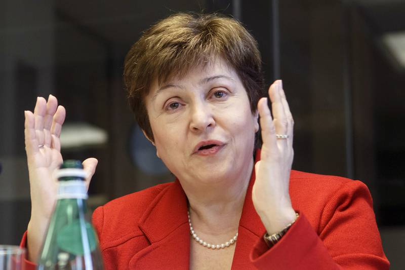 FILE - In a Wednesday, March 7, 2018 file photo, World Bank Chief Executive Officer Kristalina Georgieva speaks during a panel at the European headquarters of the United Nations in Geneva, Switzerland. Georgieva is in line to become the next head of the International Monetary Fund after the organization said Monday, September 9, 2019 Kristalina Georgieva is the one nominated for the job.(Salvatore Di Nolfi/Keystone via AP, File)