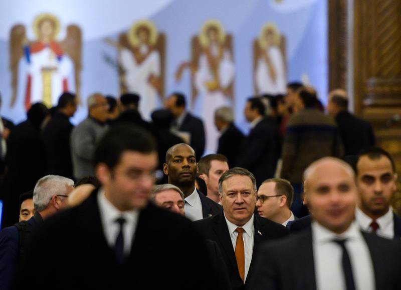 U.S. Secretary of State Mike Pompeo leaves the newly inaugurated Cathedral of the Nativity Christ, in Egypt's New Administrative Capital, east of Cairo, Thursday, Jan. 10, 2019.  (Andrew Caballero-Reynolds, Pool Photo via AP)