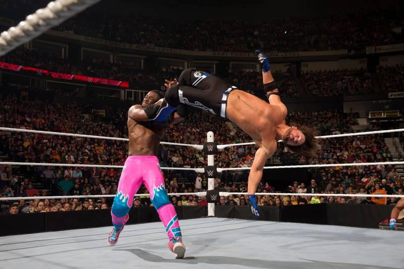 AJ Styles (right) and Kofi Kingston. Photo Courtesy: WWE *** Local Caption ***  sp28mr-pg8-Styles.jpg