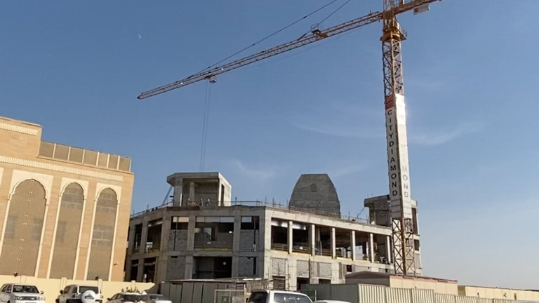 An image that illustrates this article Inside Dubai's new Hindu temple that is quickly taking shape