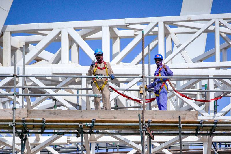 Abu Dhabi, United Arab Emirates, January 13, 2021.   Sneak peek of Al Qana Abu Dhabi and  interview with Fouad Mashal, CEO of Al Barakah International Investment and owner of Al Qana.  Workers are all thumbs up at the jobsite.Victor Besa/The NationalSection:  NAReporte:  Haneen Dajani