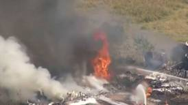 Plane runs off Texas runway and bursts into flames