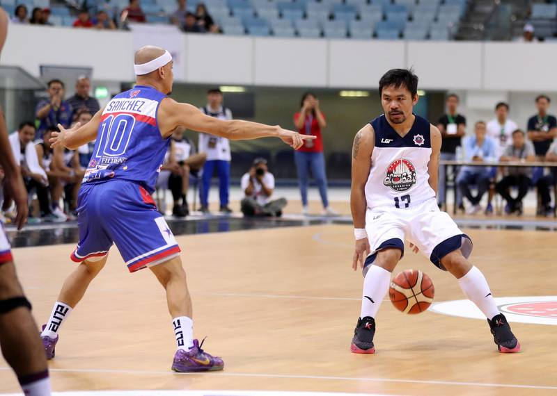 Dubai, United Arab Emirates - September 27, 2019: Dubai Invasion 2019, MPBL event, headlined by Manny Pacquiao in an All Star game. Friday the 27th of September 2019. Hamden Sports Complex, Dubai. Chris Whiteoak / The National