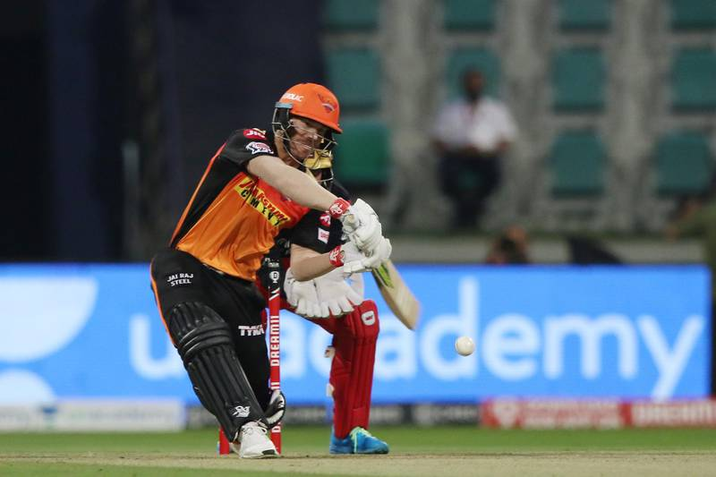 David Warner captain of Sunrisers Hyderabad plays a shot during the eliminator match of season 13 of the Dream 11 Indian Premier League (IPL) between the Sunrisers Hyderabad and the Royal Challengers Bangalore at the Sheikh Zayed Stadium, Abu Dhabi  in the United Arab Emirates on the 6th November 2020.  Photo by: Pankaj Nangia  / Sportzpics for BCCI