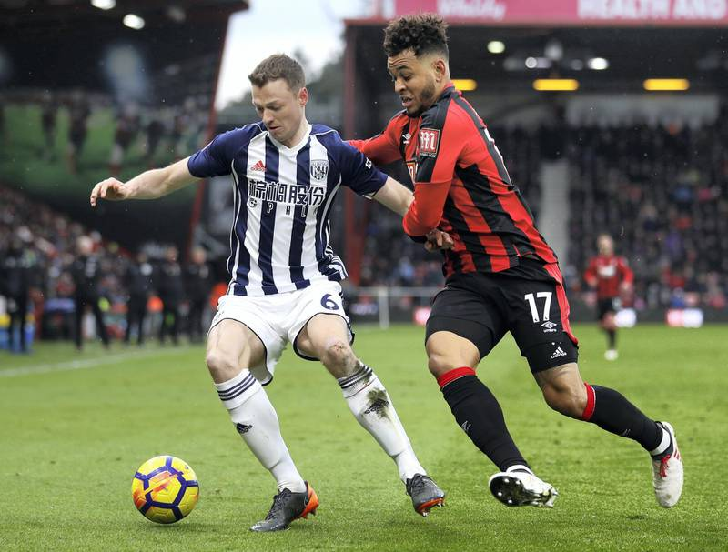 BOURNEMOUTH, ENGLAND - MARCH 17:  Jonny Evans of West Bromwich Albion and Joshua King of AFC Bournemouth battle for the ball during the Premier League match between AFC Bournemouth and West Bromwich Albion at Vitality Stadium on March 17, 2018 in Bournemouth, England.  (Photo by Bryn Lennon/Getty Images)